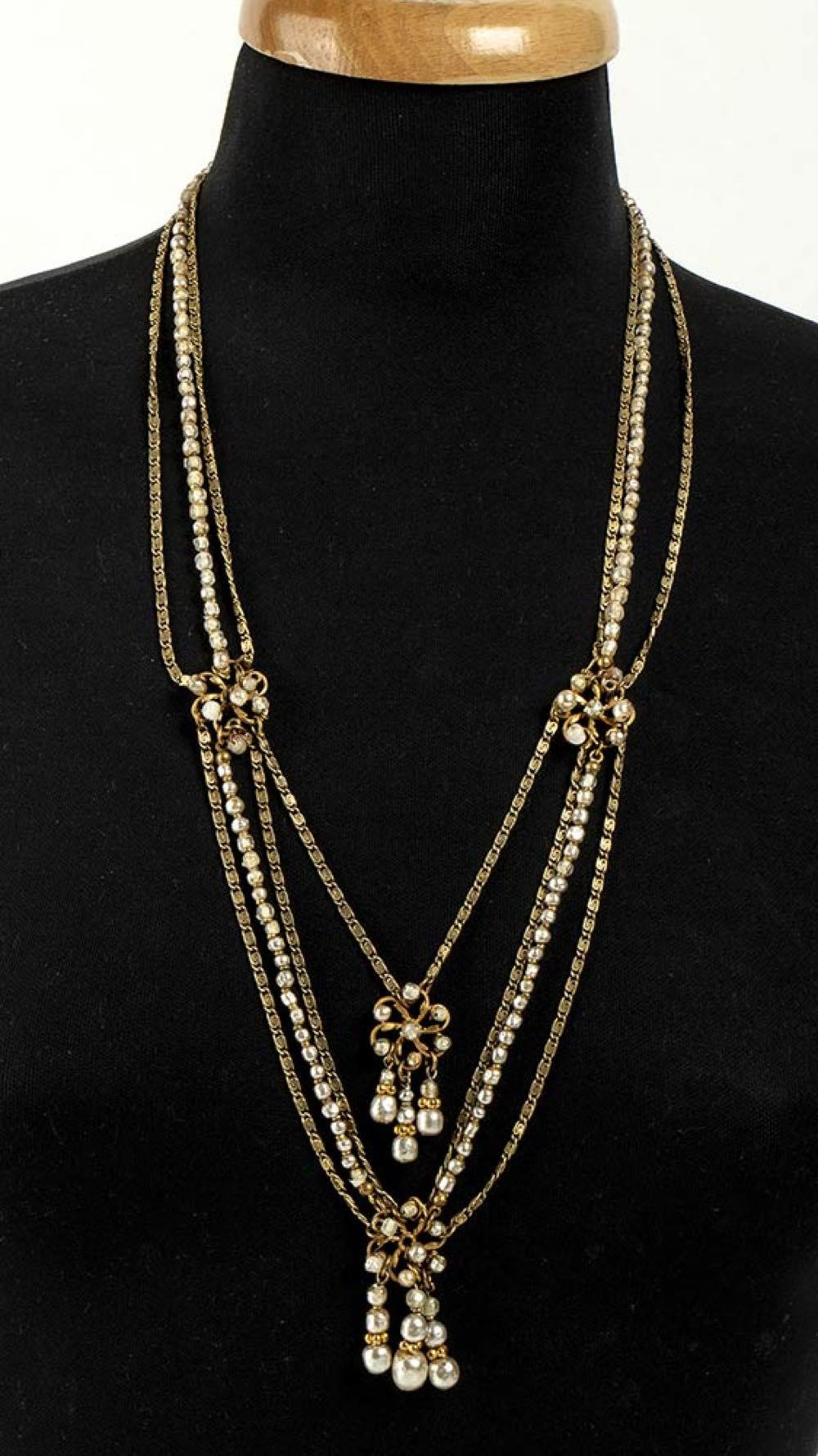 MIRIAM HASKELL - GILDED METAL NECKLACE - 40s