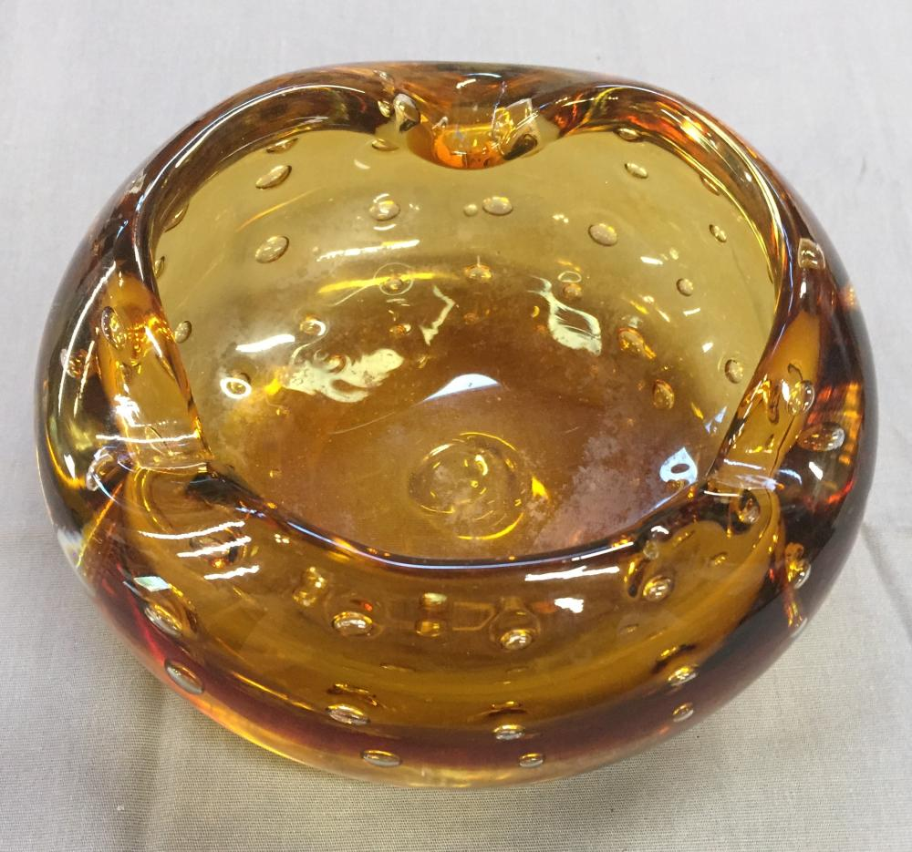 Bagley/sowerby/davidson Reasonable Original Art Deco Amber Pressed Glass Flower Bowl 12 Hole Frog Harmonious Colors