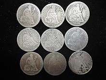 9 ASSORTED 1880'S LIBERTY