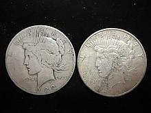 1922 & 1923-S PEACE SILVER DOLLARS