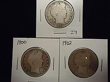 1899,1900 & 02 BARBER HALF DOLLARS