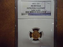1853 GOLD DOLLAR NGC AU DETAILS