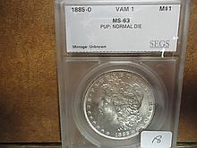 1885-O VAM-1 MORGAN SILVER DOLLAR SEGS MS63