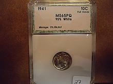 1941 MERCURY DIME PCI MS65 PQ FULL BANDS 95% WHITE