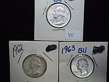 1961-D,62 & 63 WASHINGTON SILVER QUARTERS UNC
