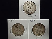 1934-S,35 & 39-S WALKING LIBERTY HALF DOLLARS