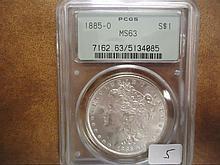 1885-O MORGAN SILVER DOLLAR PCGS MS63