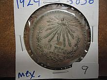 1924 MEXICO CAPS & RAY SILVER PESO .3856 OZ. ASW