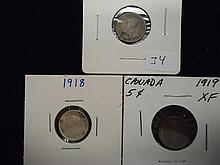 1914,18 & 19 CANADA SILVER 5 CENTS