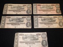Five Confederate Tin Dollar Bills