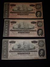 Three Confederate States of America $20 Bills