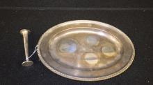 A Sterling Platter and Bud Vase