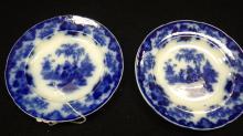 Pair of 19th Century Flow Blue Bread Plates