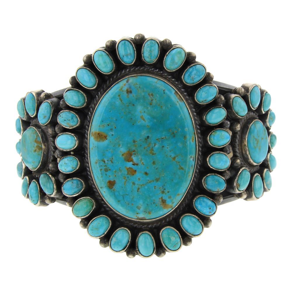 Sam Arviso Kingman Turquoise Cluster Cuff Bracelet