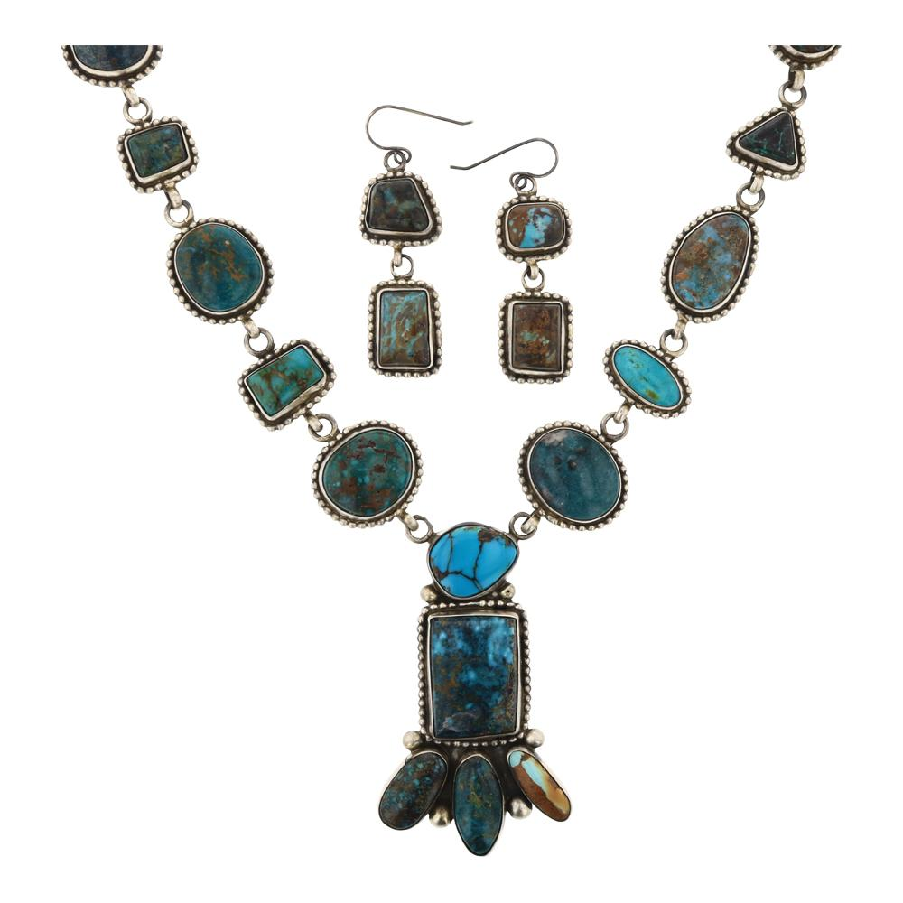 Kathleen Chavez Mixed Nevada Turquoise Necklace & Earrings Set