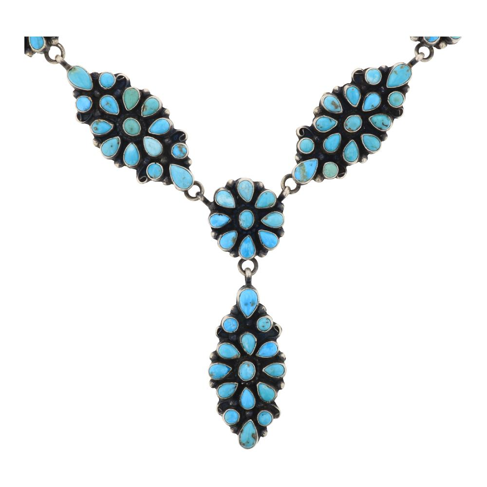 Sheila Becenti Kingman Turquoise Cluster Necklace