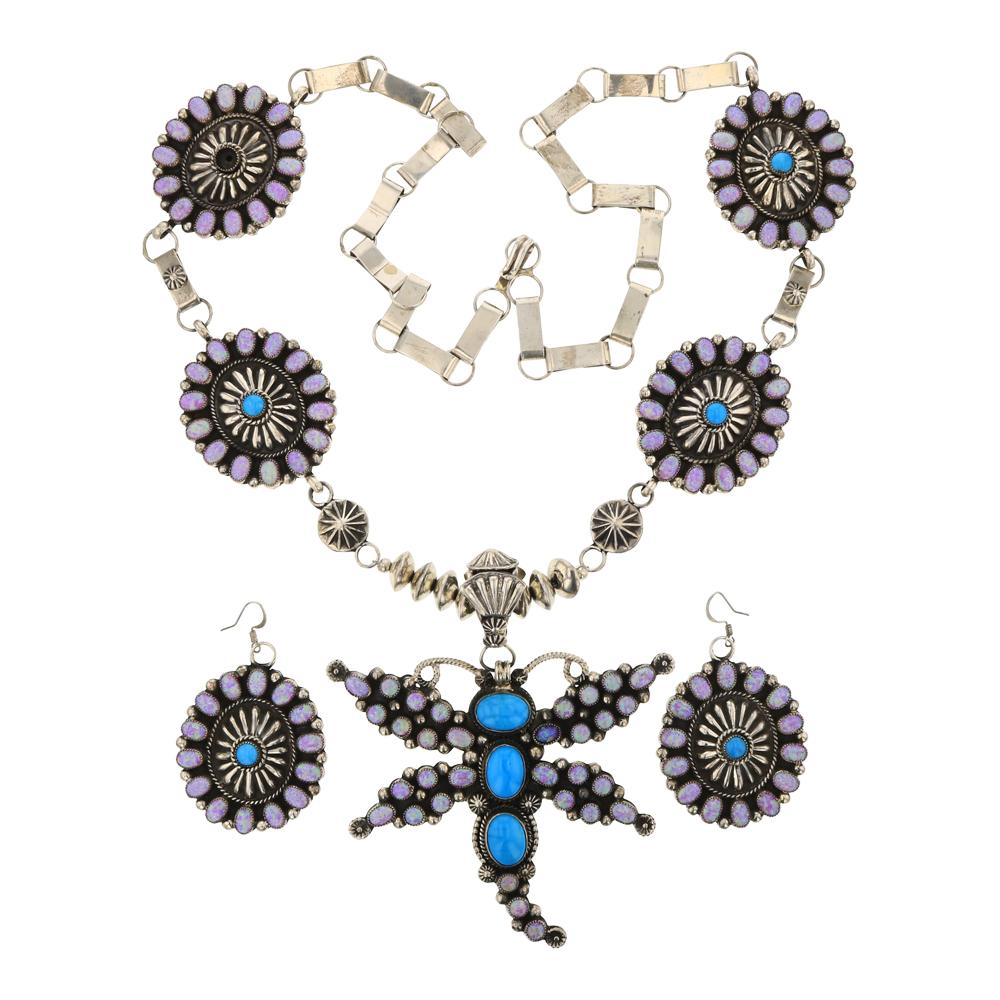 Hemerson Brown Turquoise & Synthetic Fire Opal Large Cluster Dragonfly Necklace & Earrings Set
