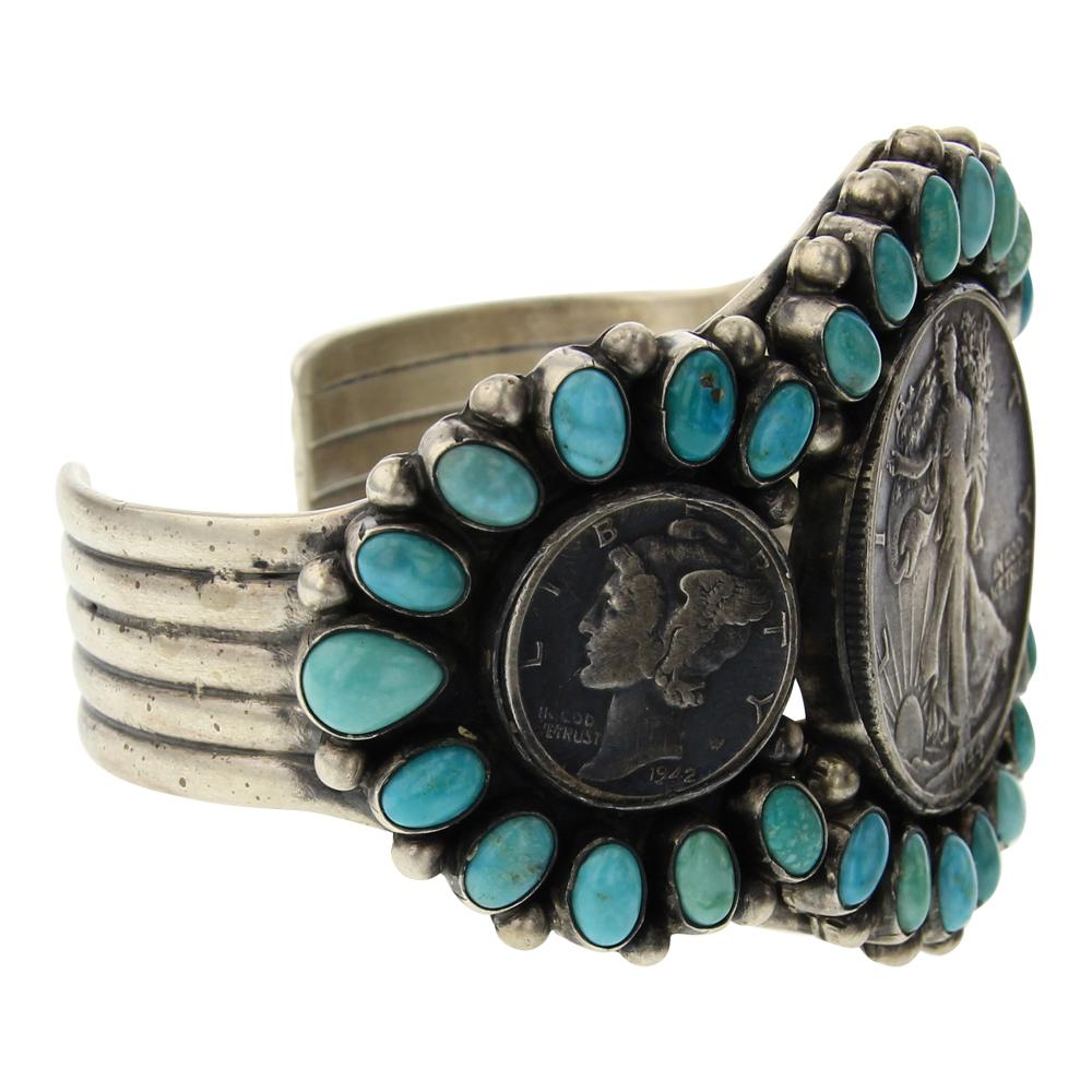 Paul Livingston Turquoise Walking Liberty Half Dollar & Mercury Dimes Cluster Bracelet