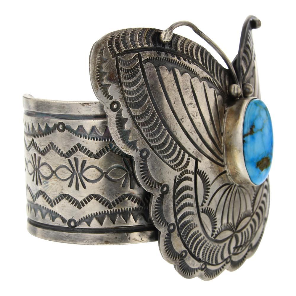 Bobby Johnson Kingman Turquoise Butterfly Stamp work Cuff Bracelet