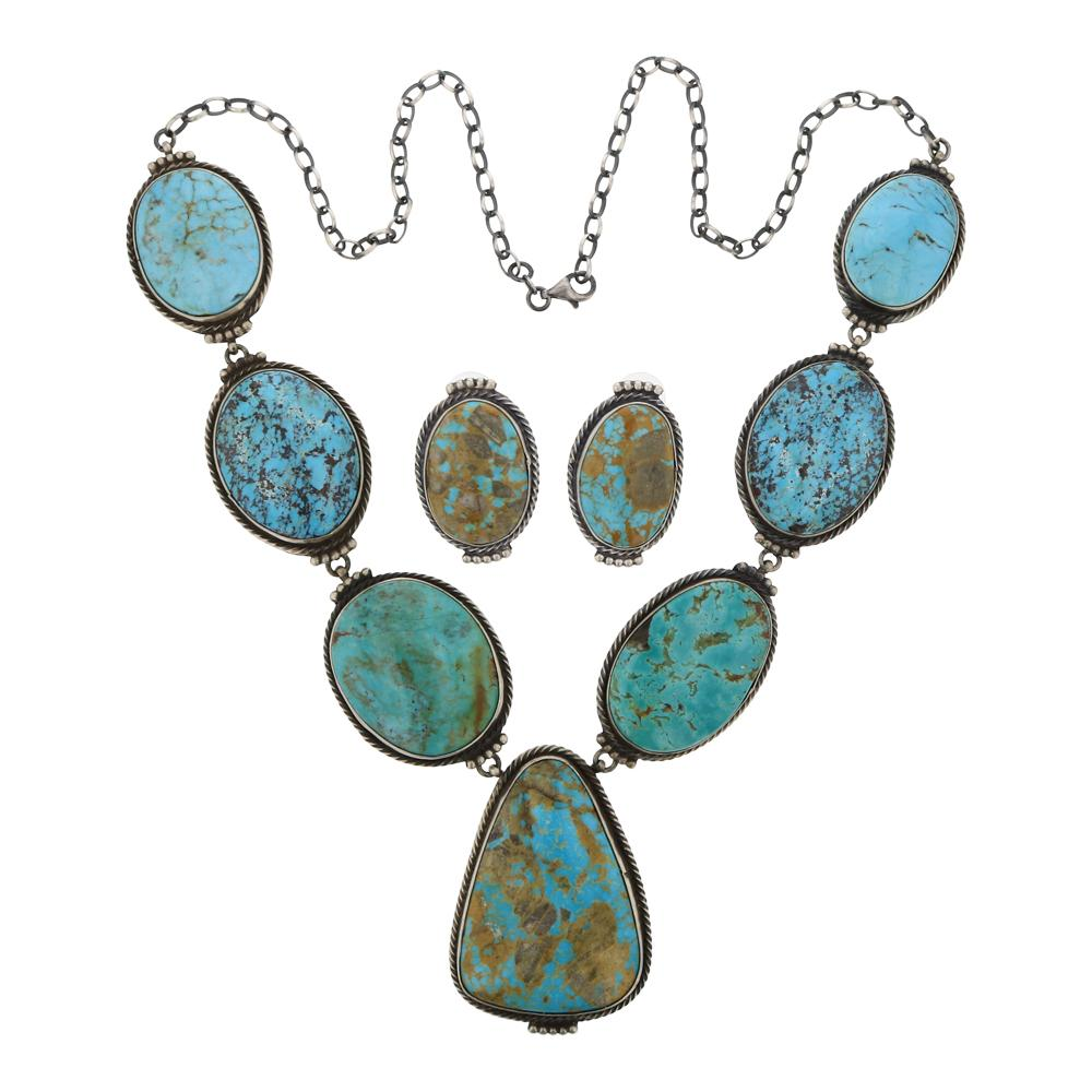 Peggy Skeets Mixed Nevada Turquoise Necklace & Earrings Set