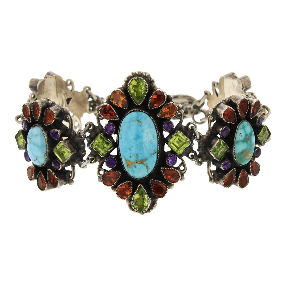 Leo Feeney Kingman Turquoise faceted Peridot Garnet & Citrine Link Bracelet