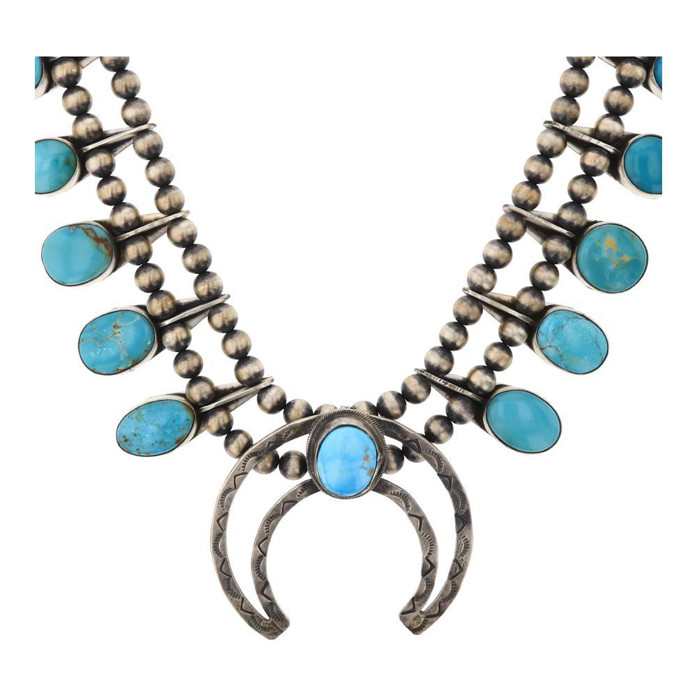 Bobby Johnson Kingman Turquoise Squash Blossom Necklace