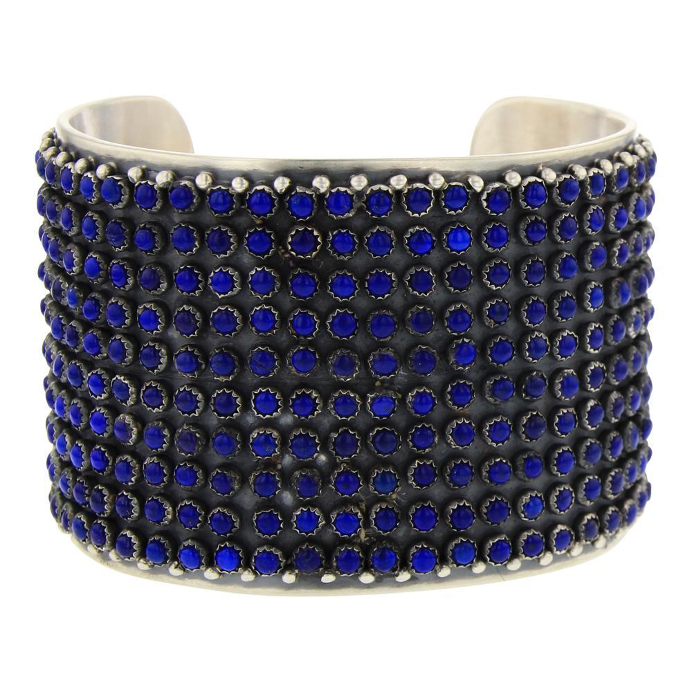 Paul Livingston 10 Row 3mm Lapis Calibrated Row Cuff Bracelet