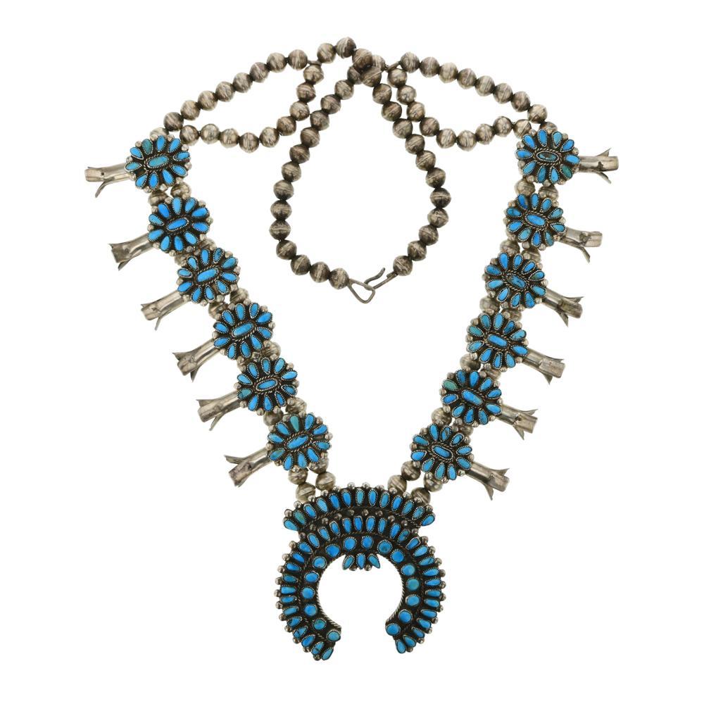 Valentino & Matilda Banteah Vintage Pawn Turquoise Zuni Cluster Squash Blossom Necklace
