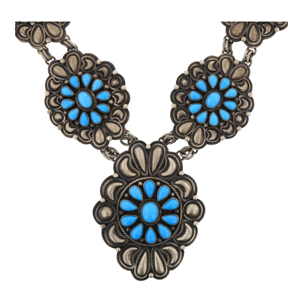 Darrin Livingston Sleeping Beauty Turquoise Cluster Bump out Necklace