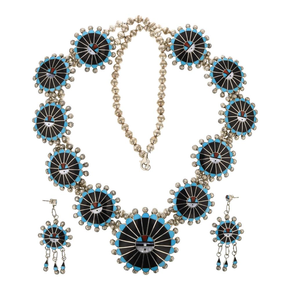 Abel Soseeah Zuni Turquoise Mother of Pearl Acoma Black Jet Inlay Sun face necklace & Earrings Set