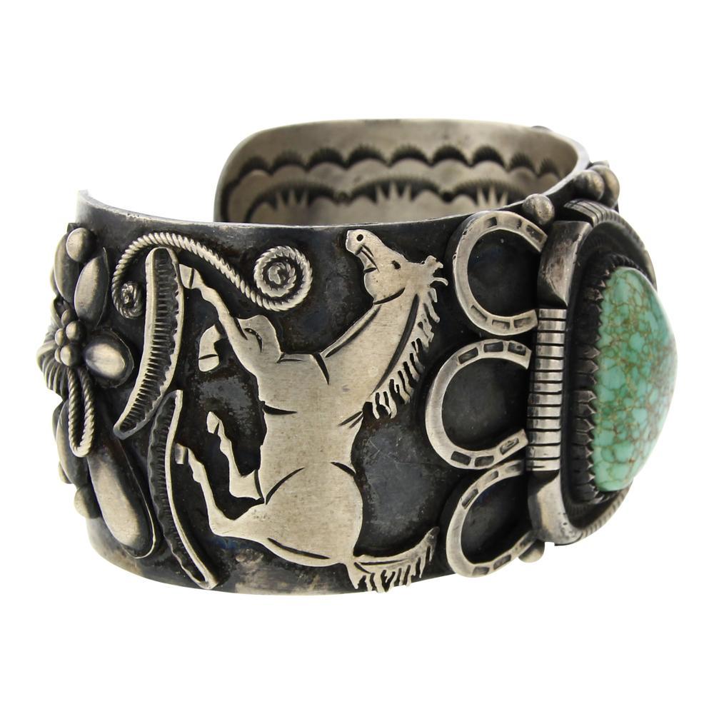 Larry Martinez Chavez Carrico Lake Turquoise Horse Cuff Bracelet