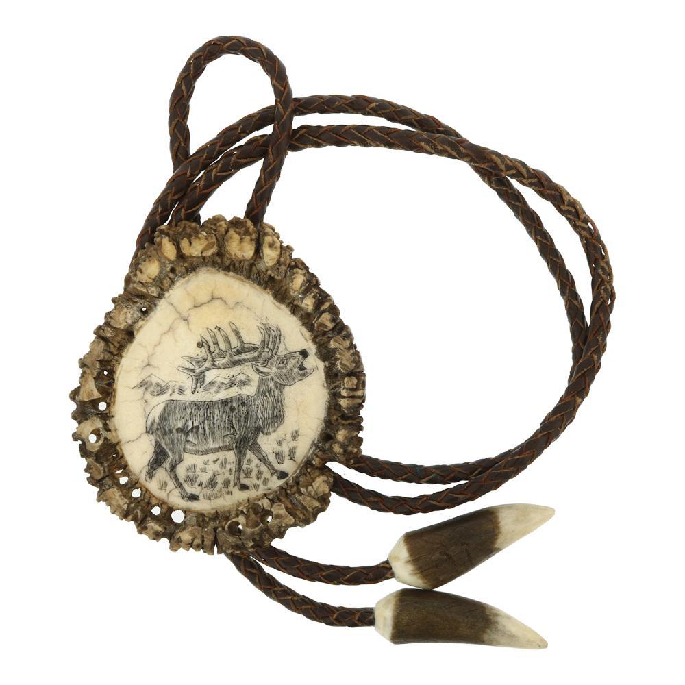 Vintage Elk Antler Carved Bolo Tie