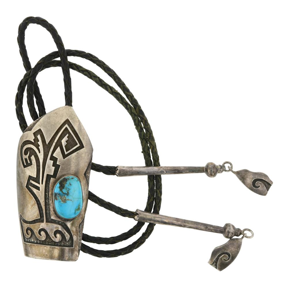 Turquoise Hopi Overlay Bolo Tie