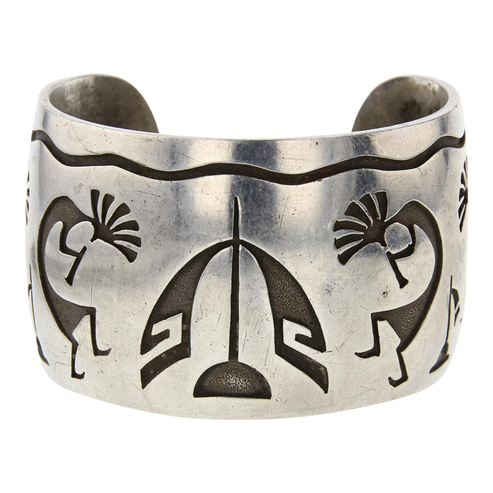 Old Pawn Hopi Overlay Silver Wide Cuff Bracelet