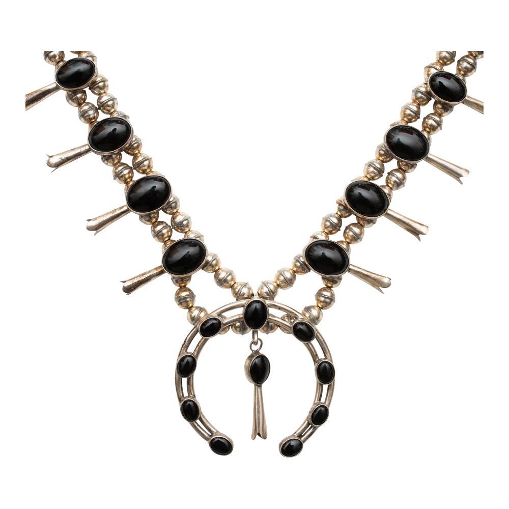 Vintage Black Onyx Squash Blossom Necklace