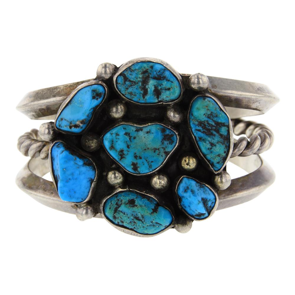 Old Pawn Triangle Wire Cluster Sleeping Beauty Nugget Turquoise Bracelet