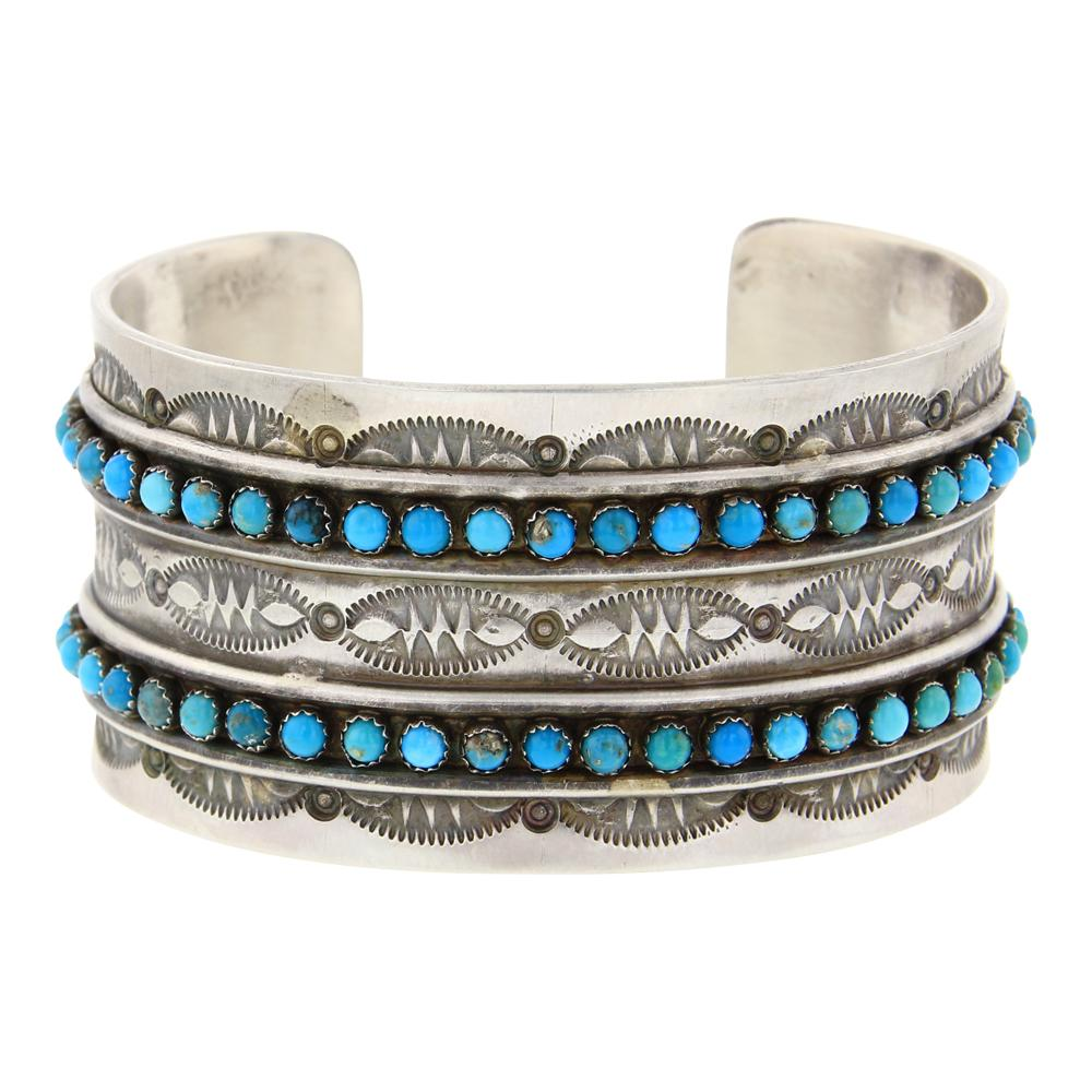 Paul Livingston Kingman Turquoise Row Cuff Bracelet