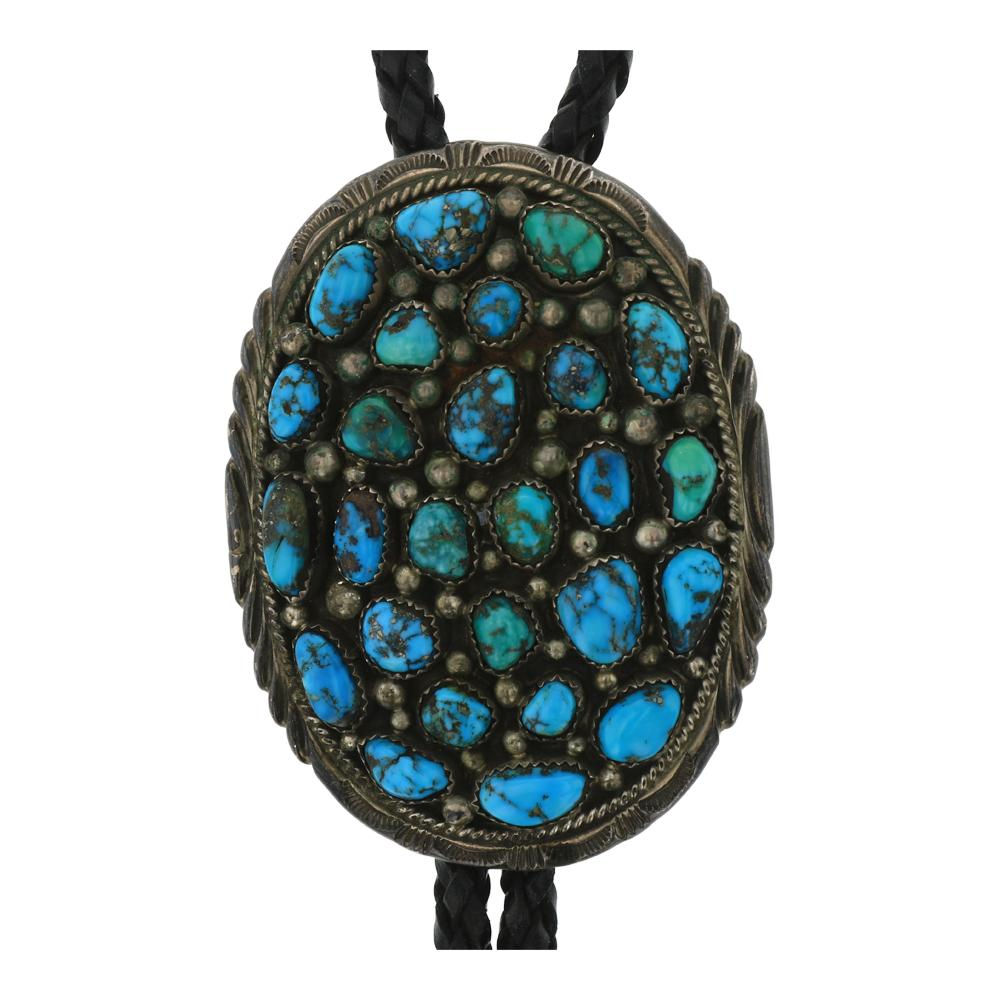 Old Pawn Sleeping Beauty Turquoise Cluster Bolo Tie