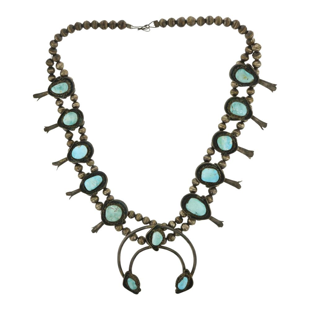 Old Pawn Vintage Turquoise Squash Blossom Necklace