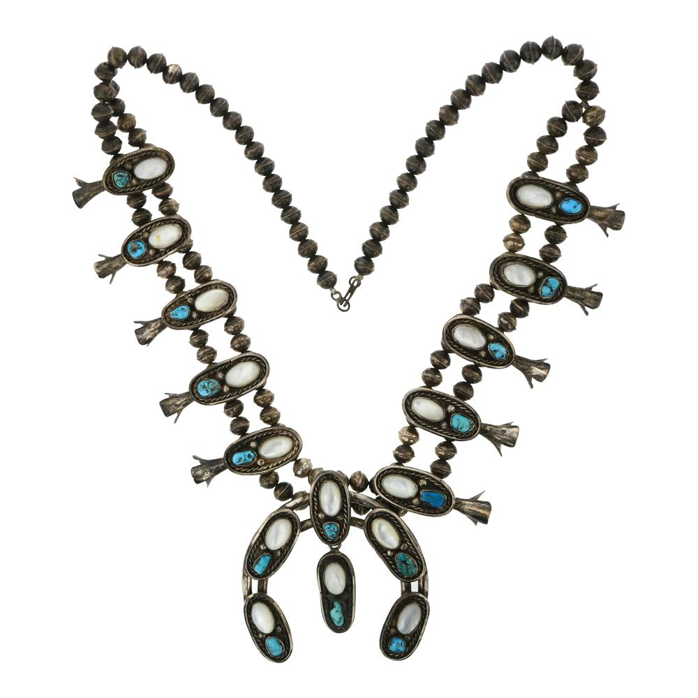 Old Pawn Kingman Turquoise & MoP Squash Blossom Necklace