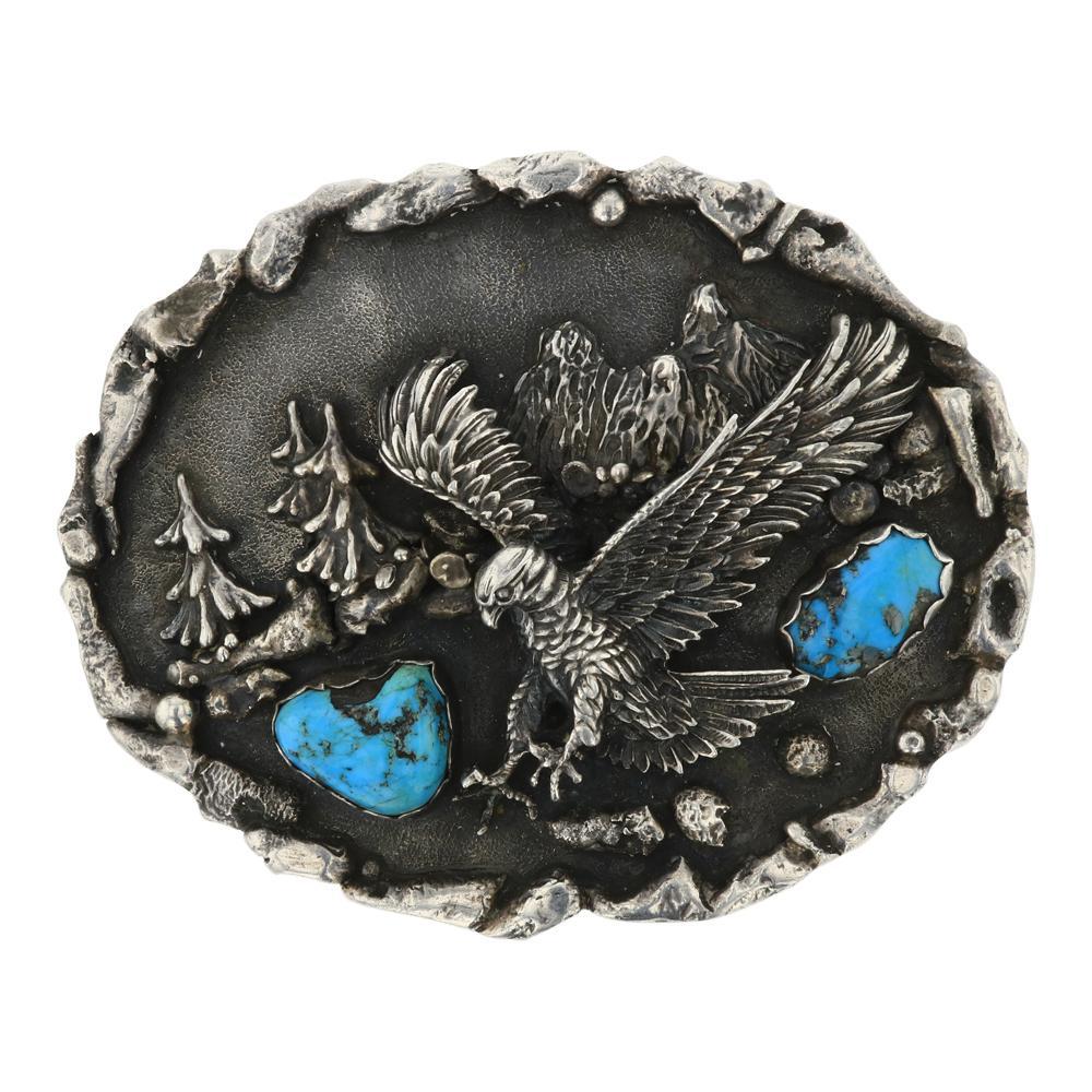 Vintage Kingman Turquoise Eagle Belt Buckle