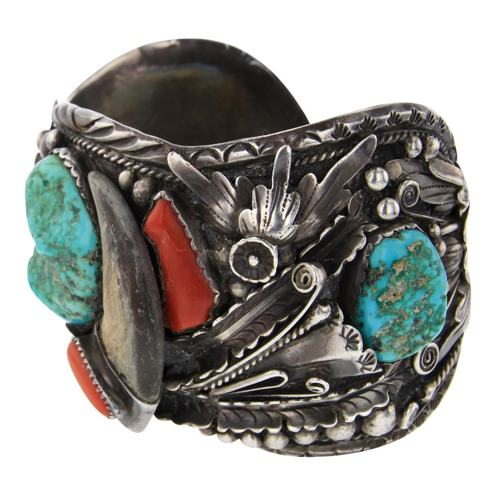 Old Pawn Turquoise & Coral Bear Claw Cuff Bracelet