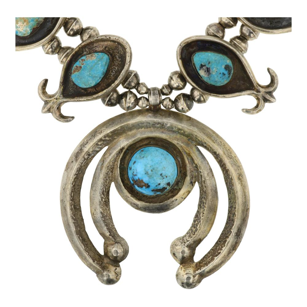 Old Pawn Nevada Turquoise Squash Blossom necklace