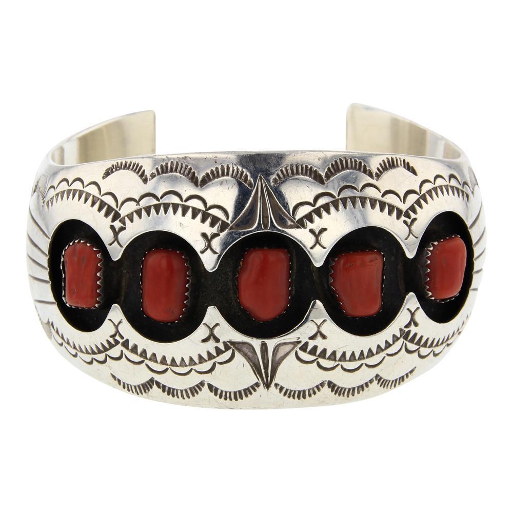 Benally Freeform Branch Coral Shadow Box Cuff Bracelet