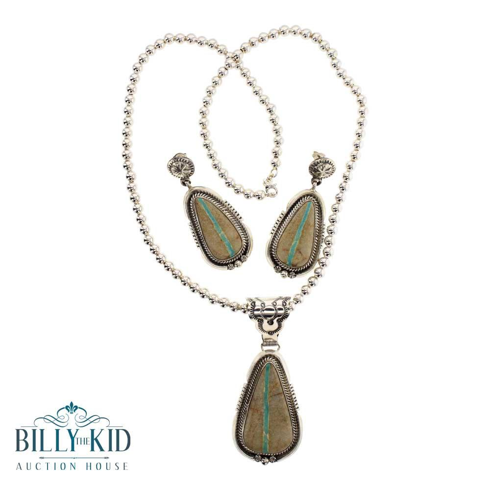 Ray Delgarito Boulder Turquoise Necklace & Earrings Set