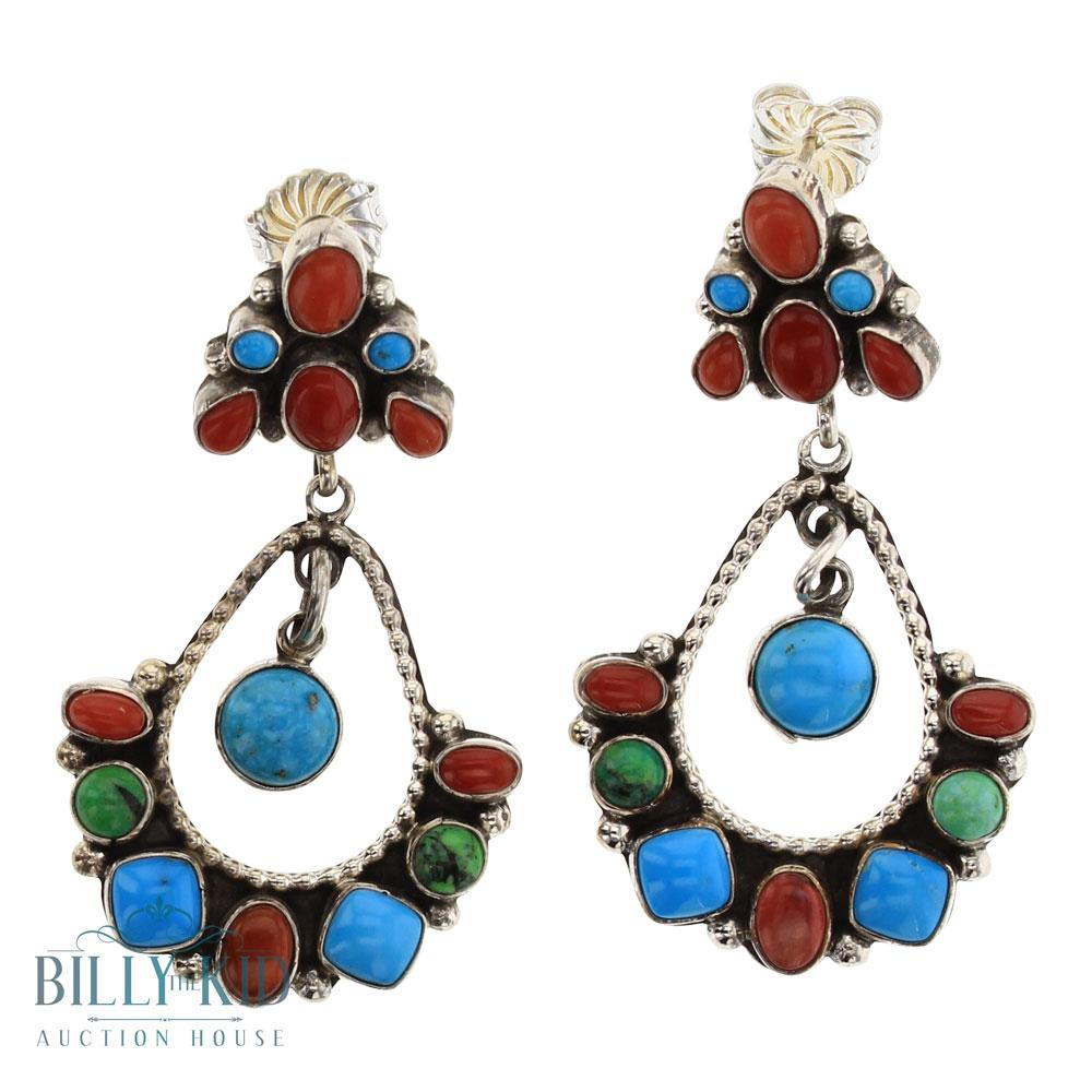 Eleanor Largo Turquoise & Coral Calibrated Stones Cluster Earrings