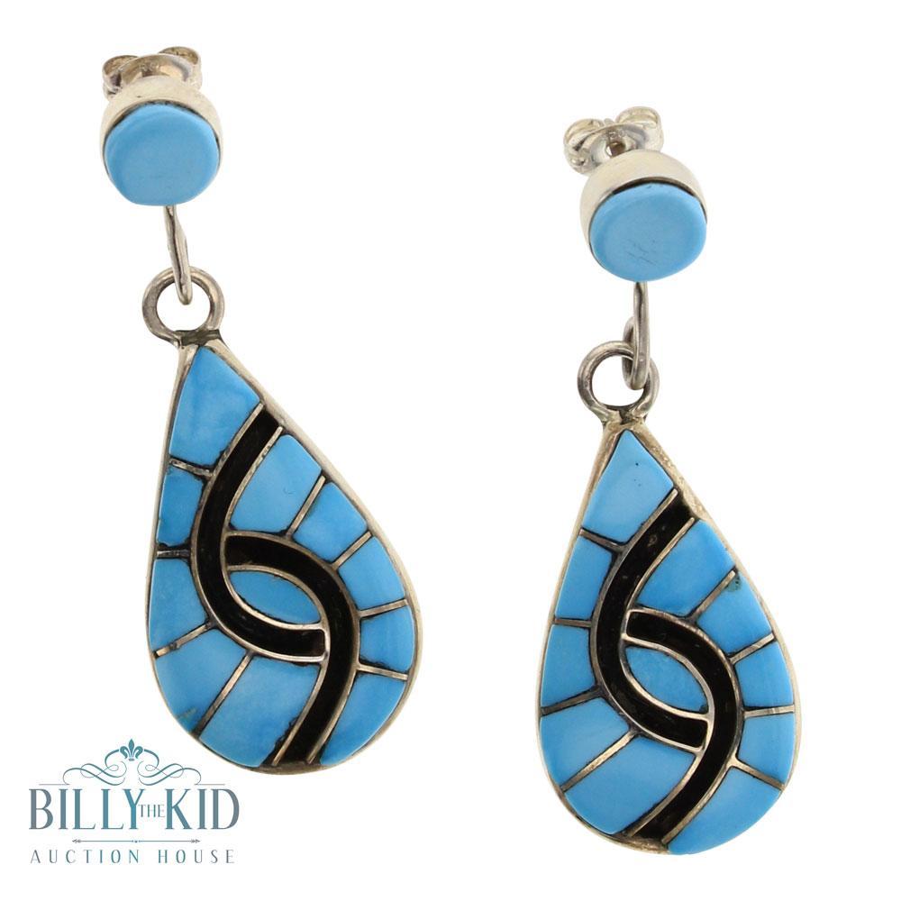 Amy Quandelacy Sleeping Beauty Turquoise Zuni Inly Earrings