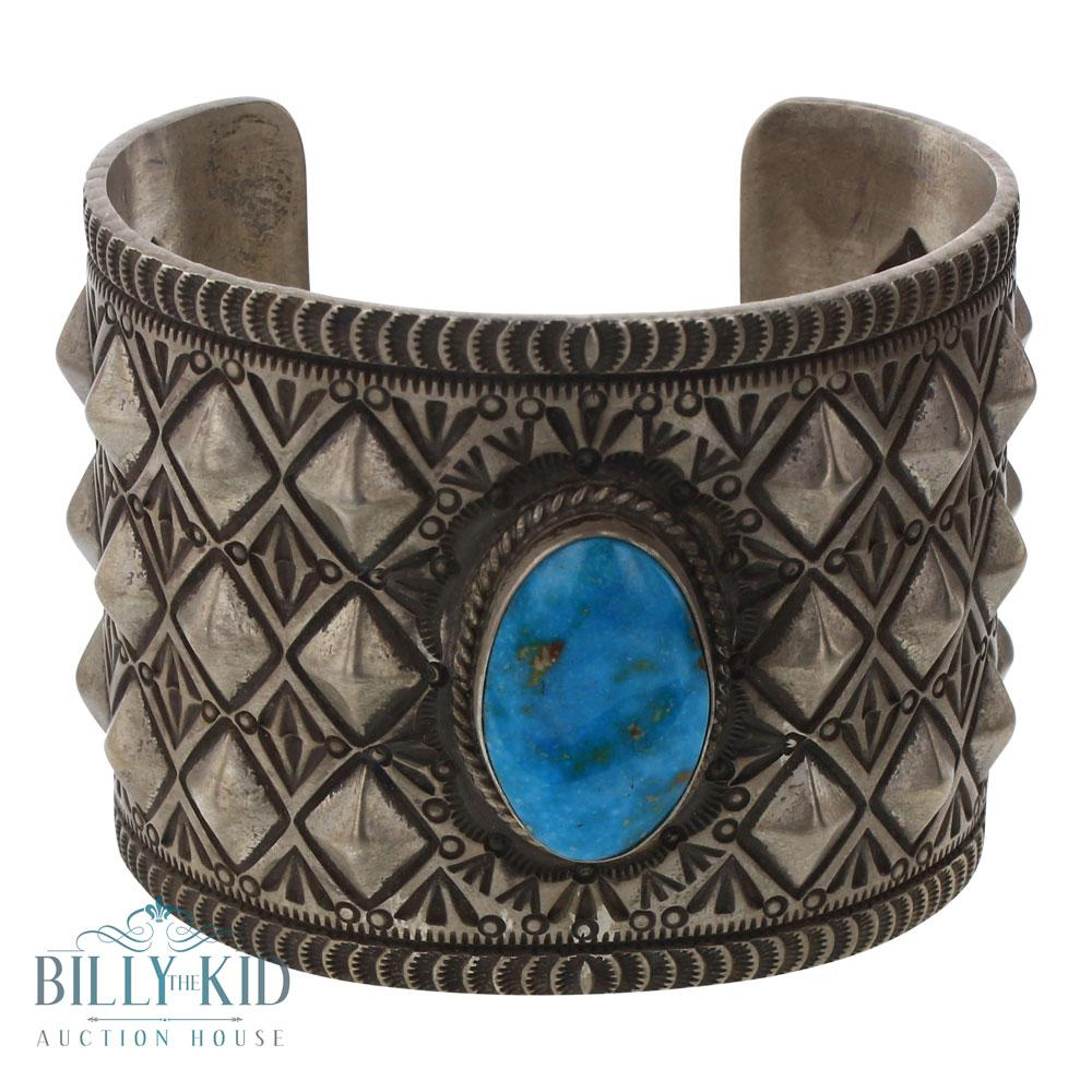 Herman Smith Blue Ridge Turquoise Wide Cuff Diamond Shape Bump Out Bracelet