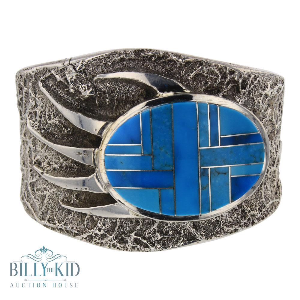 Tufa Cast Mixed Turquoise Inlay Bear paw Design Cuff Bracelet