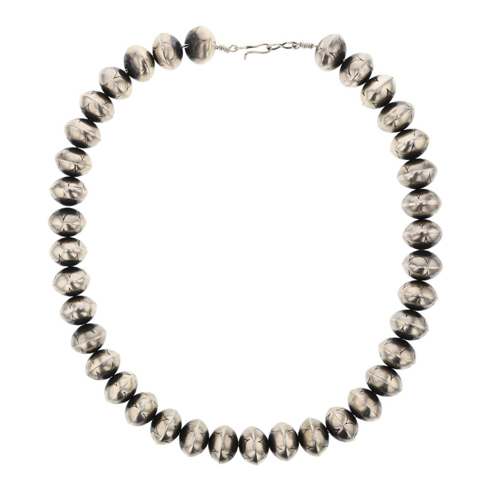 Vintage Plain Silver Handmade Stamped Bench Beads Necklace